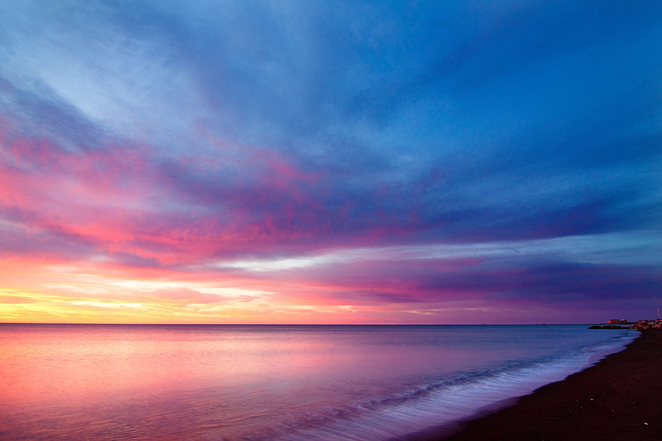 blue and pink sunset